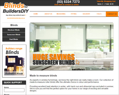 eCommerce website for blinds and curtains