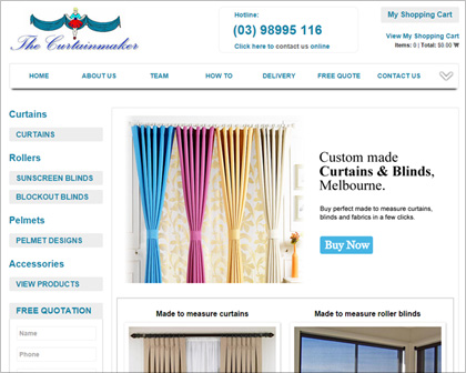 eCommerce website for curtains and pelmets